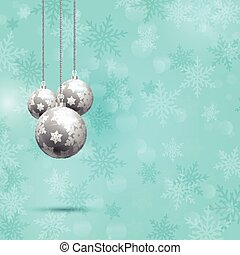 christmas baubles on snowflake background 0912