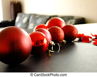 Christmas Baubles on Table
