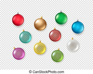 Christmas baubles on transparent background