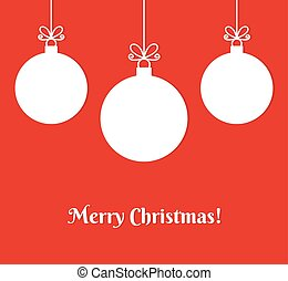 Christmas baubles ornaments on red background