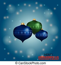Christmas baubles over blue