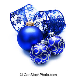 Christmas Baubles over white