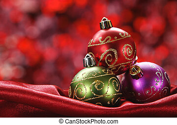 Christmas Baubles - Pretty Christmas baubles with seasonal...