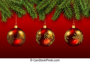 Christmas baubles red and gold with green pine tree, elegant...