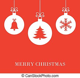 Christmas baubles red background