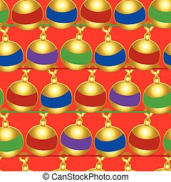 Christmas baubles seamless pattern on a red background
