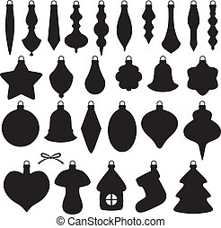Christmas baubles set - Silhouette image of Christmas...