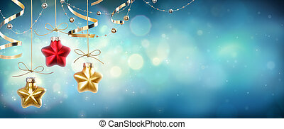 Christmas Baubles Shape Star Hanging In Shiny Night