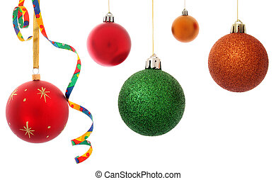 Varied Christmas baubles isolated over white background
