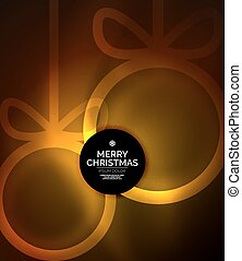 Christmas baubles, vector magic dark background with glowing New Year spheres