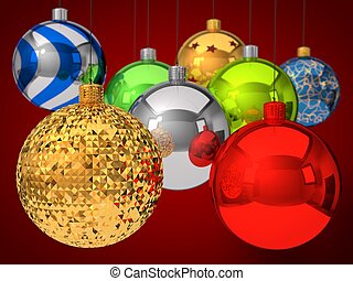 christmas baubles with depth of field effect.