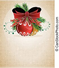 Christmas baubles with red bow
