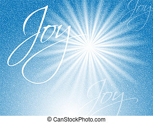 An illustration - the word Joy written in script over a bright star in a blue sky