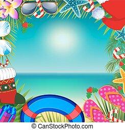 Christmas beach frame with copy space.