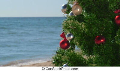 Christmas beach holidays background close-up