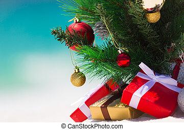 Christmas beach paradise background - Christmas tree on a...