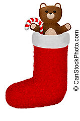 A teddy bear and candy cane in a stocking