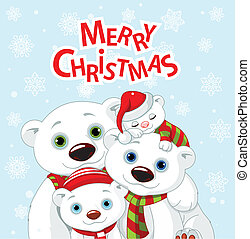 Christmas bear family greeting car - Polar bear family...