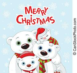 Christmas bear family greeting car - Polar bear family...