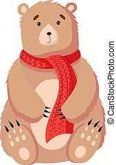 Christmas bear. Flat vector illustration isolated on a white background