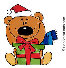 Christmas Bear Holding A Present