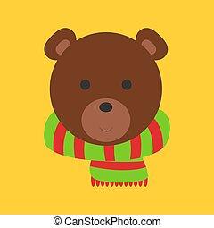 Christmas bear, illustration, vector on white background.