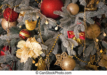 Christmas. Beautiful decorated tree with toys. The morning before Xmas. New year holiday. Happy new year. Christmas composition. Merry Christmas and Happy Holidays. Waiting for wonder