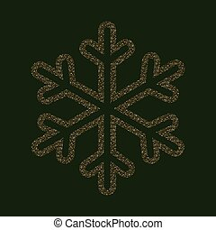 Christmas beautiful snowflake with a textural effect of gold color