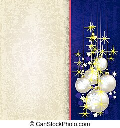 Christmas beige background with pearl balls