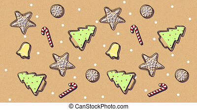 Animation of Christmas pattern with moving Christmas trees, snowflakes, bells and sugar canes on brown background. Christmas season festivity concept digitally generated image.