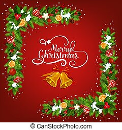 Christmas bell greeting card with garland corner