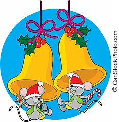 Christmas Bell Mice - Two little mice swinging on the...