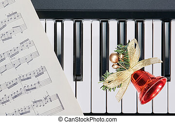 Christmas bell on keyboard