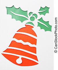 Christmas bell. Origami. Handmade.