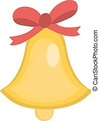 Christmas bell vector icon. Isolated on white background.