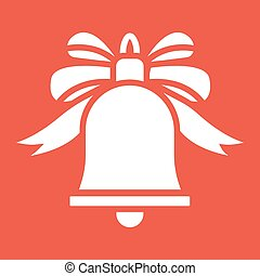Christmas bell with bow glyph icon, New year and Christmas, ribbon sign vector graphics, a solid pattern on a red background, eps 10.
