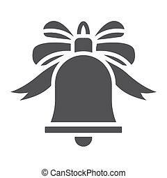 Christmas bell with bow glyph icon, New year and Christmas, ribbon sign vector graphics, a solid pattern on a white background, eps 10.