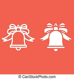 Christmas bell with bow line and glyph icon, New year and...