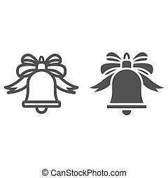 Christmas bell with bow line and glyph icon, New year and Christmas, ribbon sign vector graphics, a linear pattern on a white background, eps 10.