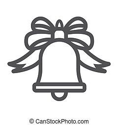 Christmas bell with bow line icon, New year and Christmas, ribbon sign vector graphics, a linear pattern on a white background, eps 10.