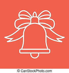 Christmas bell with bow line icon, New year and Christmas, ribbon sign vector graphics, a linear pattern on a red background, eps 10.