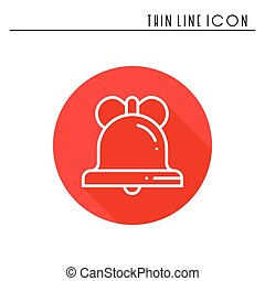 Christmas bell with bow thin line icon. New Year celebration outline decorated pictogram. Xmas winter element. Vector simple flat linear design. Logo illustration. Silhouette symbols. Christmas bell.