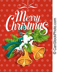 Christmas bell with fir and ribbon greeting card