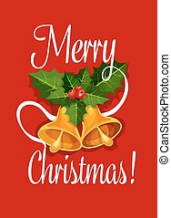 Christmas bell with holly berry greeting card design