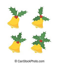 Christmas bell with holly berry leaves. Vector illustration