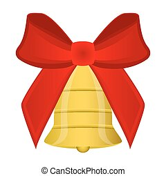 Christmas bell with red bow