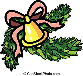 Christmas bell with ribbon and evergreen
