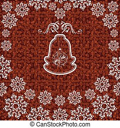 Christmas bell with snowflakes on the dark brown background