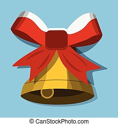 Christmas Bell, XMas icon. Cartoon style. Vector Illustration for Christmas da