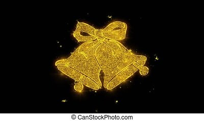 Christmas Bells and Holly Written with Golden Particles...